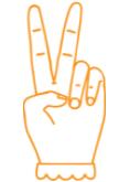 v vormig teken met handen