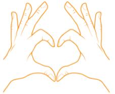 hand vormen een hartje